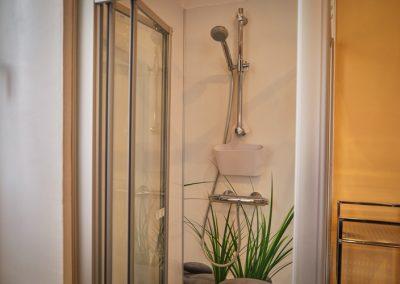 Dusche im Badezimmer der Ferienwohnung Stephanides in Lemgo